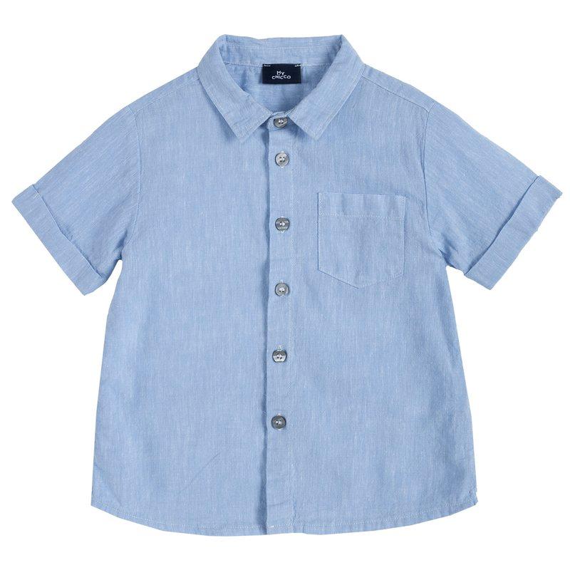 Camicia di cotone e lino con taschina 2Y AZZURRO CHIARO