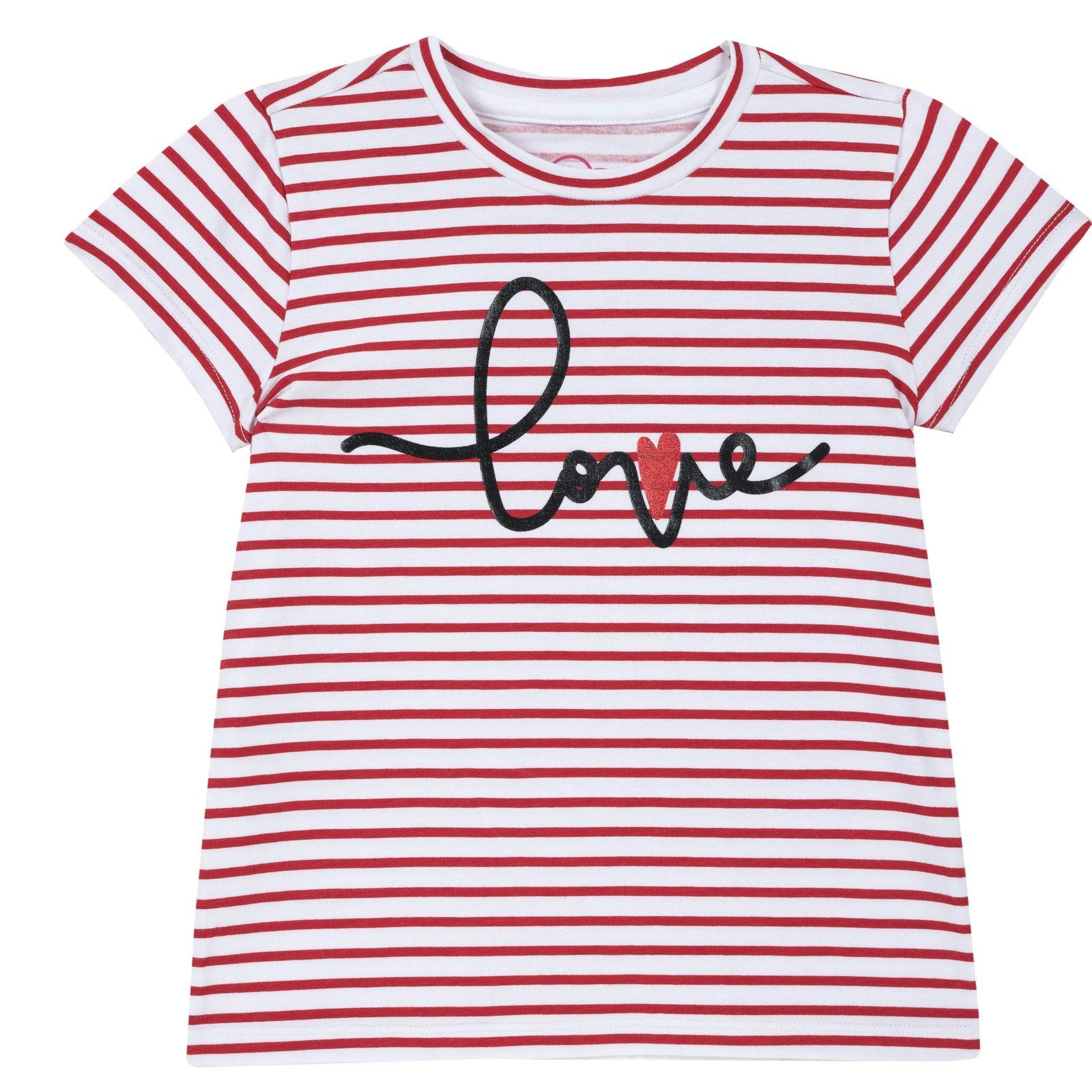 a8617b2d7c Camicie e T-shirt bambina t-shirt love a righe rosso rigato ...