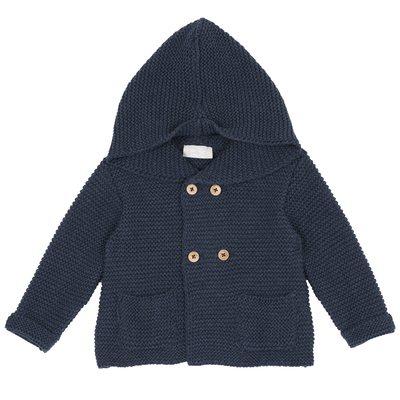 Cardigan di tricot con bottoni e cappuccio