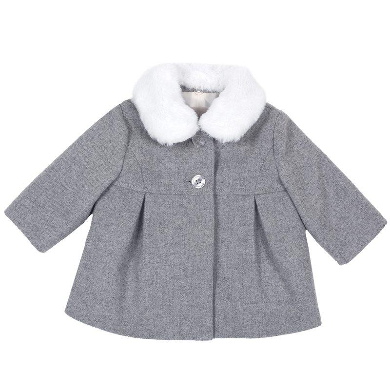 Cappotto con colletto di finta pelliccia