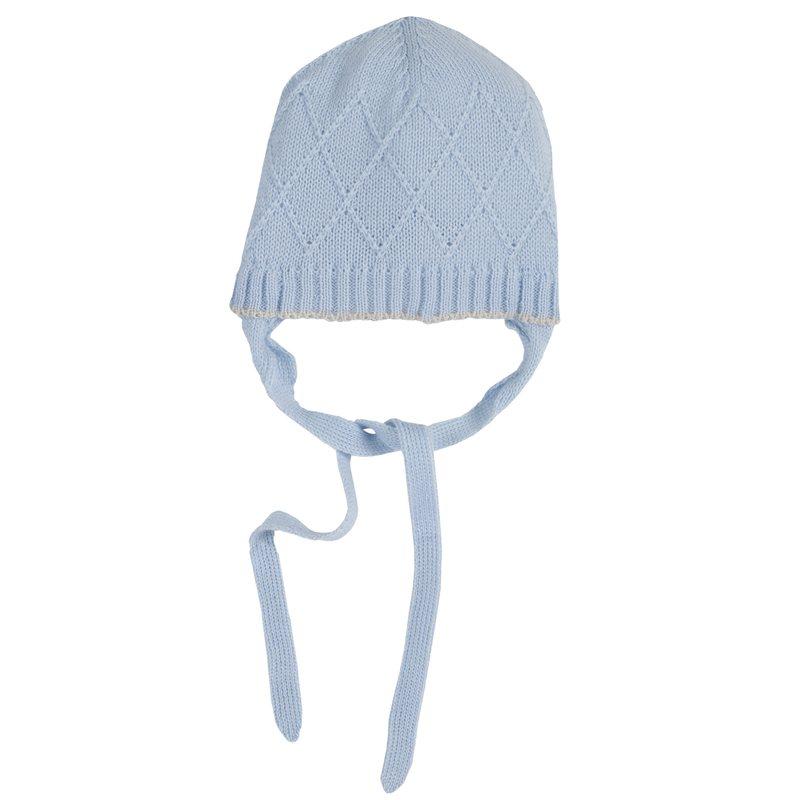 Cappello di lana tricot con lacci