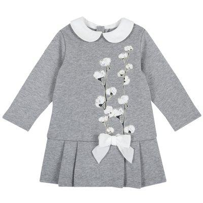 Vestito di felpa con stampa floreale e fiocco applicato