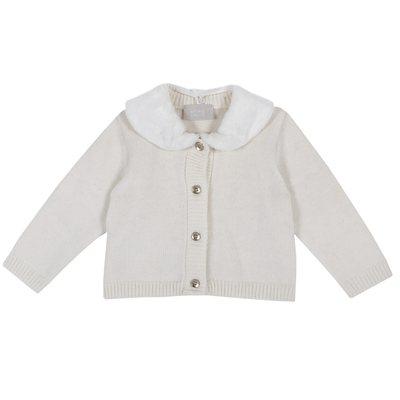 Cardigan di tricot con colletto