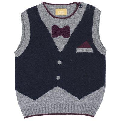 Gilet di tricot misto cotone e lana