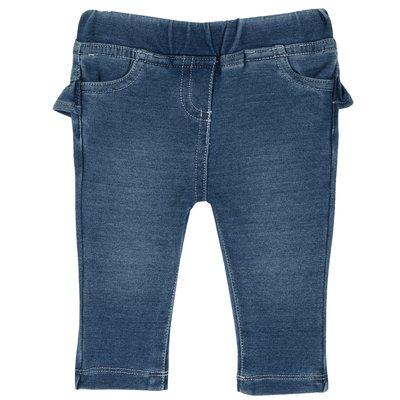 Pantalone lungo di denim maglia con volant
