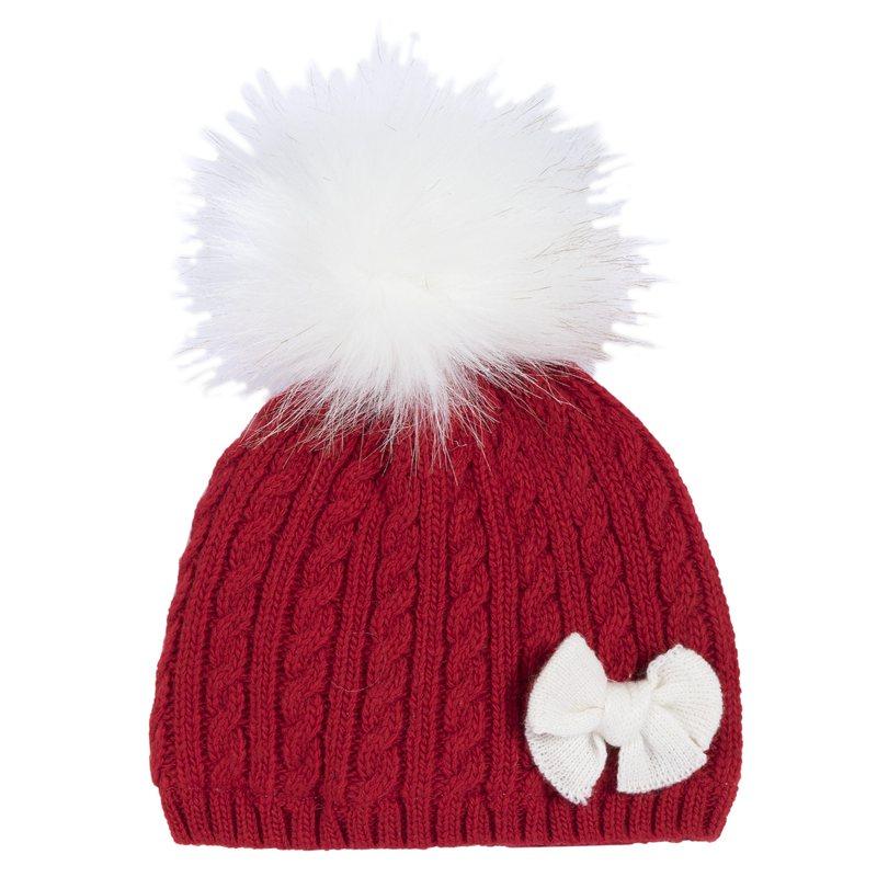 Cappellino con pon-pon e fiocchetto