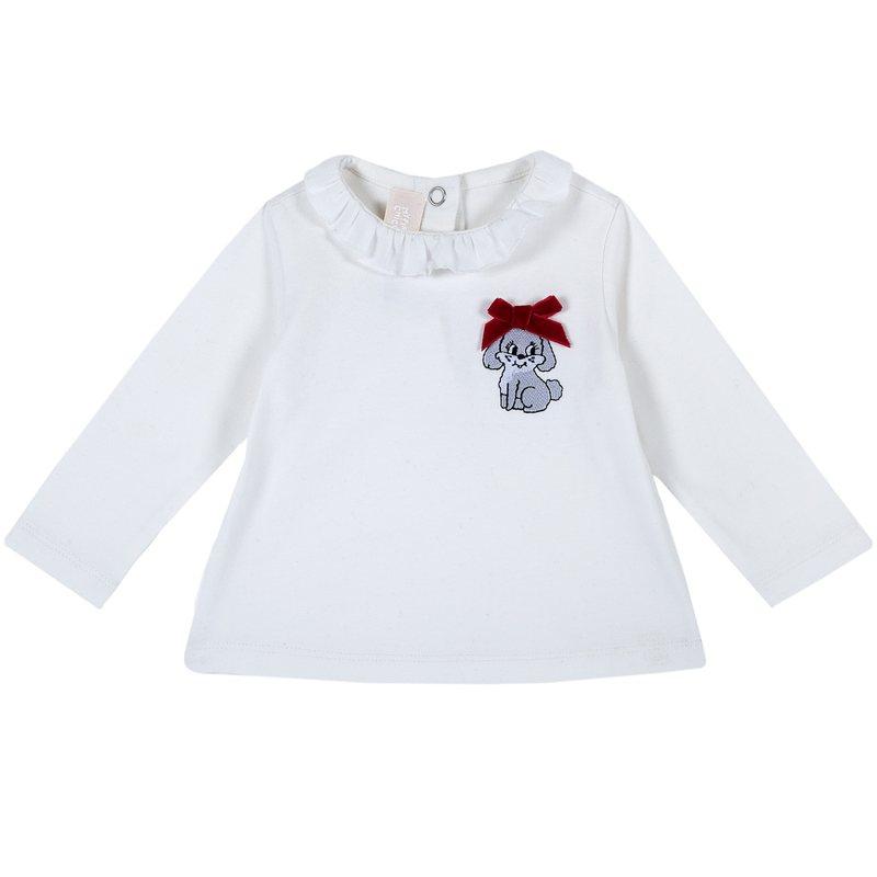 Maglietta con coniglietto e fiocchetto applicato