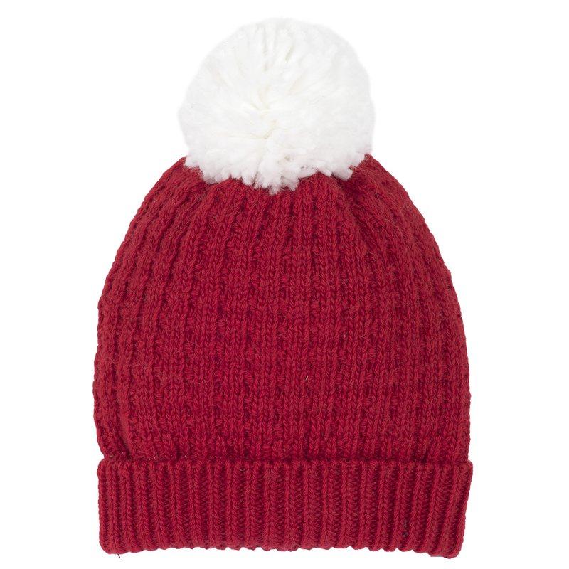 Cappellino di tricot misto lana con pon-pon