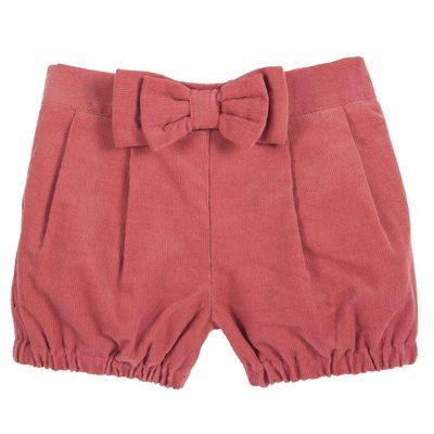 Pantaloni corti di velluto con fiocchi