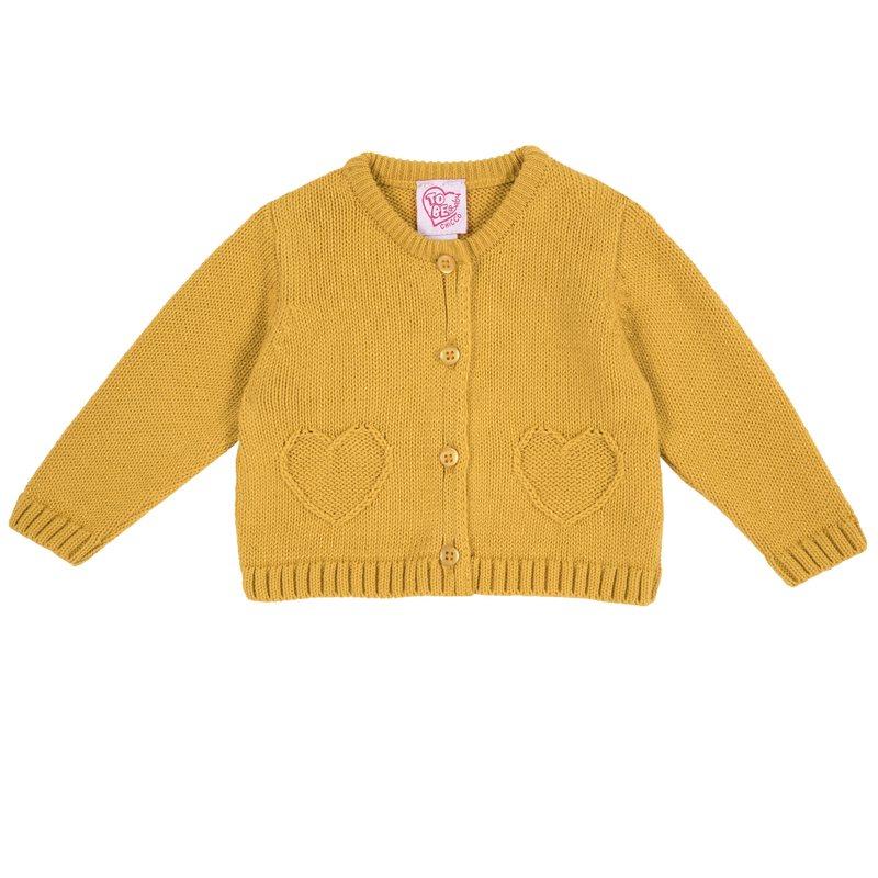 Cardigan di tricot con cuoricini