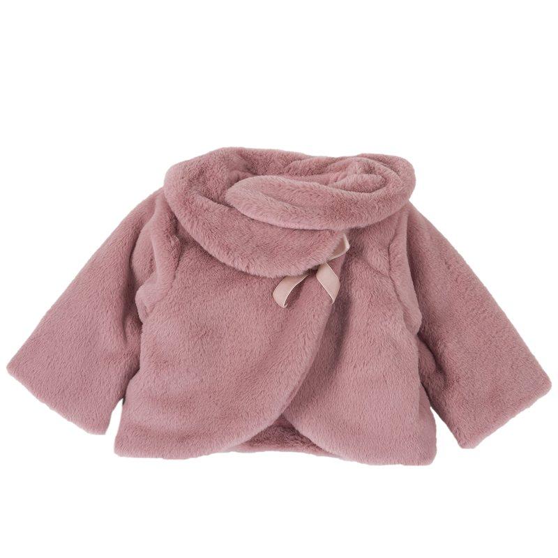 Giacca di finta pelliccia con fiocco