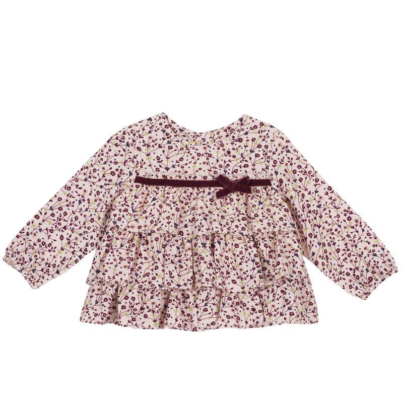 Camicia di flanella con fiorellini e fiocchetto