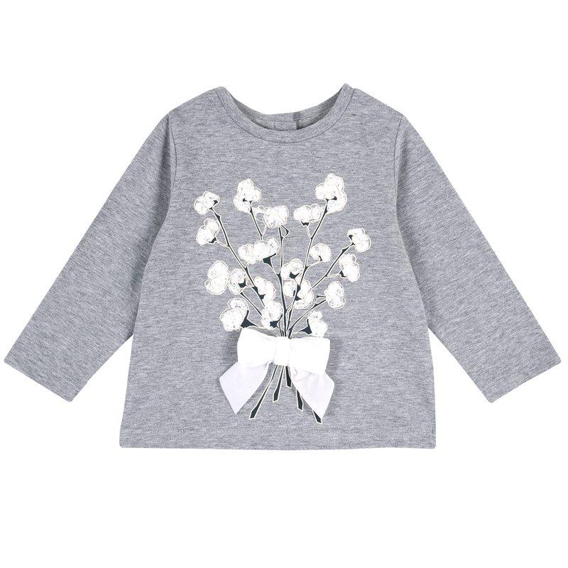 Maglietta con stampa floreale e fiocco