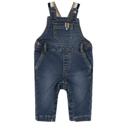 Salopette lunga di denim maglia stretch