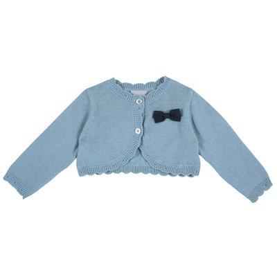 Cardigan corto di tricot con fiocchetto