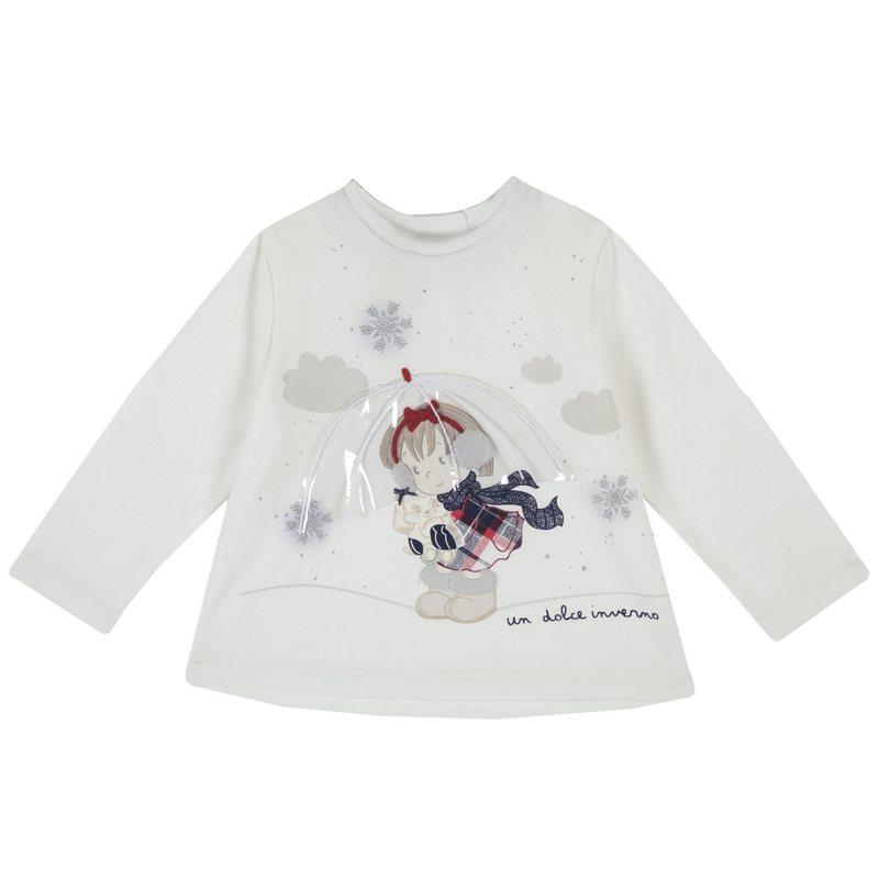 Maglietta con bambina e ombrellino
