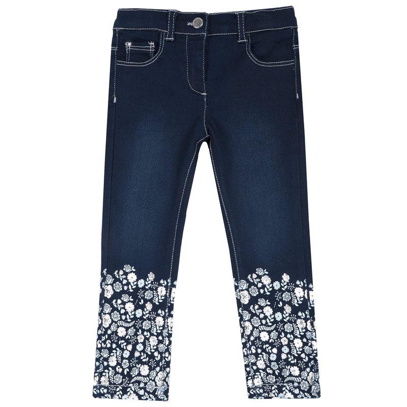 Pantalone di jeans con fantasia a fiori 2Y