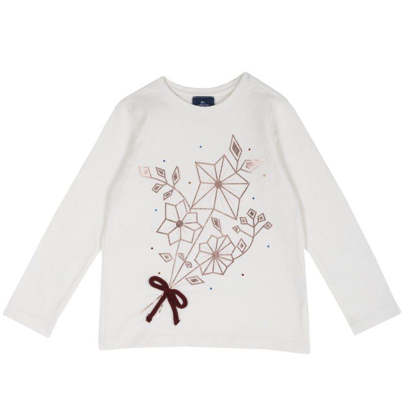 T-shirt con stampa, strass e fiocchetto applicato