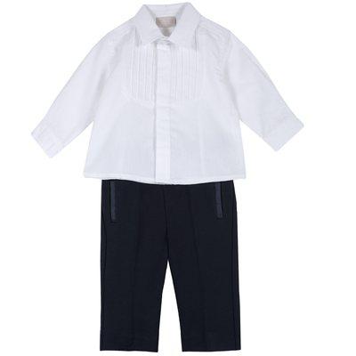 Set camicia con manica lunga e pantalone in punto milano