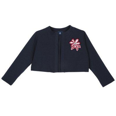 Cardigan con fiore di paillettes applicato