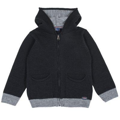 Cardigan di tricot misto lana con cappuccio e zip