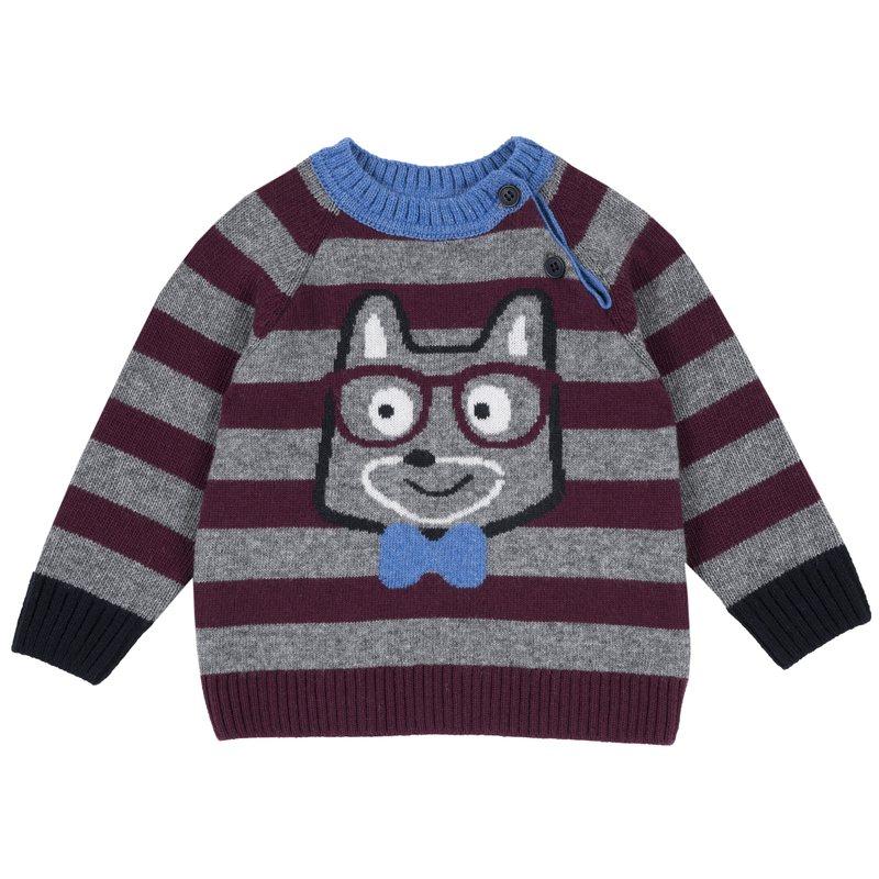 Pullover tricot misto cotone e lana con righe