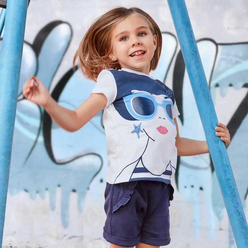 T-shirt con manica corta di cotone 9M BIANCO E BLU