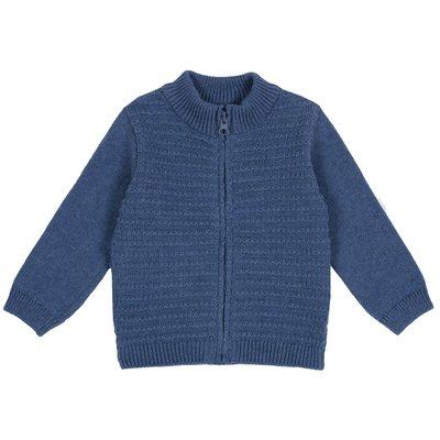 Cardigan di tricot misto cotone con zip