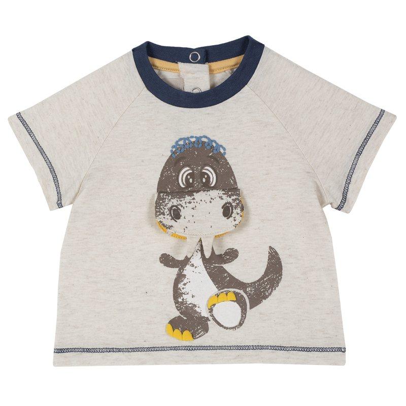 T-shirt con manica corta e dinosauro