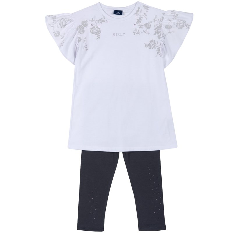Set t-shirt con stampa floreale e leggings