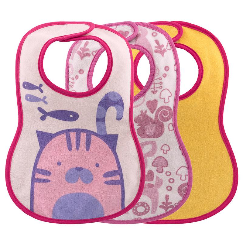 Bavaglina pappa 6m+ rosa con gatto