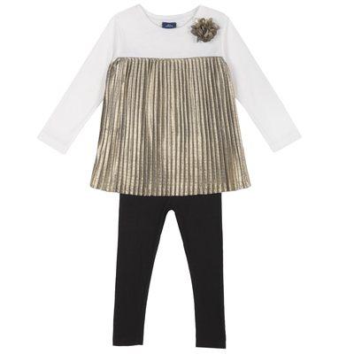 Set maglietta con manica lunga plissettata e leggings